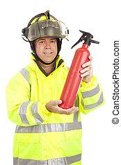 brûler, démontre, pompier, extincteur