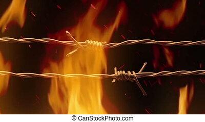 brûler, dépassement, fil, barbelé
