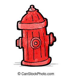brûler, dessin animé, prise eau