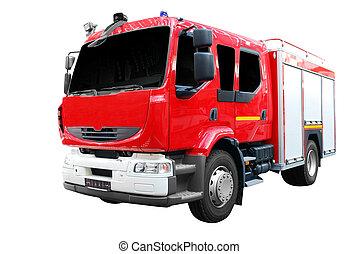 brûler, devant, camion, vue