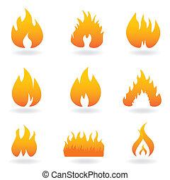 brûler, divers, flamme, icônes