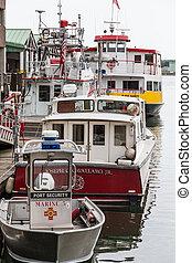 brûler, dock, ferry-boat, port sécurité, bateau