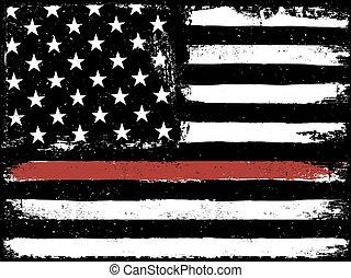 brûler, drapeau, ligne, rouges, lambeaux