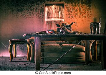 brûler, endommagé, meubles