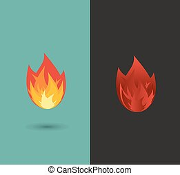 brûler, ensemble, flamme, icône