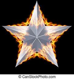 brûler, entouré, étoile, argent