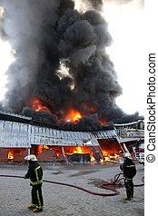 brûler, entrepôt, désastre
