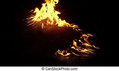 brûler, essence, brûlé, terrestre