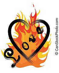 brûler, et, amour