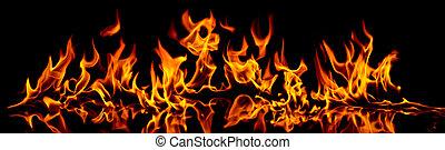 brûler, et, flames.