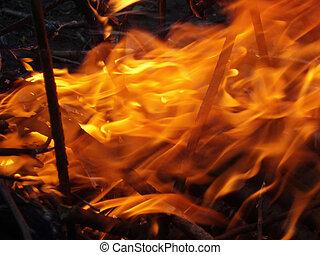 brûler, et, flammes