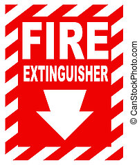 brûler, extincteur, signe