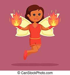 brûler, fée, femme, elle, mains