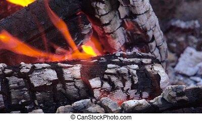 brûler, fin, fireplace., haut