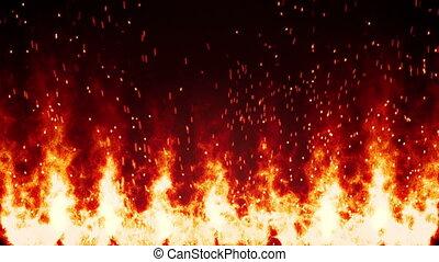 brûler, flamboyant, loopable, mur, fond, étincelles
