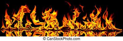 brûler, flames.