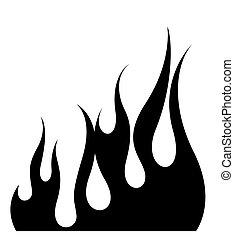 brûler, flamme, éléments, forme
