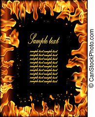 brûler, flamme, banner.