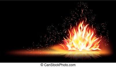 brûler, flamme, bannière, vecteur