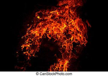 brûler, flamme, brûlé, fond