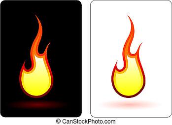 brûler, flamme, conception, elemets