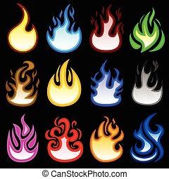brûler, flamme, flamme, brulure, icône