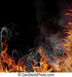 brûler, flamme, fond