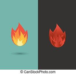 brûler, flamme, icône, ensemble