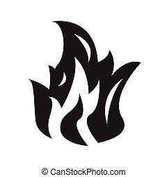 brûler, flamme, icône, vecteur, illustration