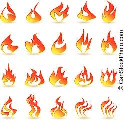 brûler, flamme, icônes, set.