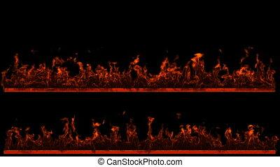 brûler, flamme, lignes, deux, loopable