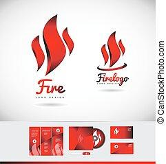 brûler, flamme, logo, icône, forme, conception
