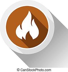 brûler, flammes, bouton