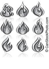 brûler, flammes, ensemble, à, reflet