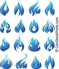 brûler, flammes, ensemble, 3d, bleu, icônes