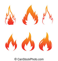brûler, flammes, ensemble, icônes, vecteur