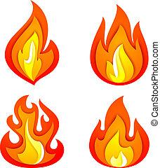 brûler, flammes, ensemble