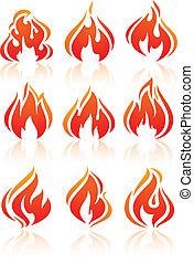 brûler, Flammes, ensemble, rouges, icônes