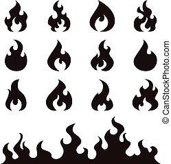 brûler, flammes, ensemble, vecteur, icônes