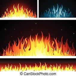 brûler, flammes, graphique, fond, vecteur