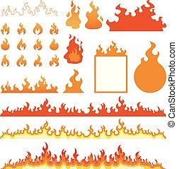 brûler, flammes, icônes, ensemble, isolé, blanc, vecteur, illustration