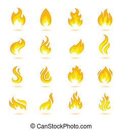brûler, flammes, icônes