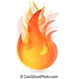brûler, flammes, logo, conception
