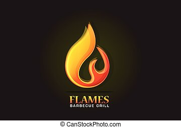 brûler, flammes, logo