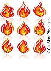 brûler, flammes, nouveau, ensemble, à, reflet