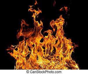brûler, flammes, sur, a, arrière-plan noir