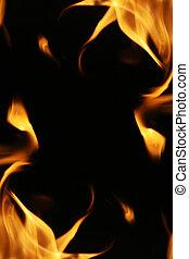 brûler, flammes, texture., fond, cadre