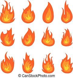 brûler, flammes, vecteur, ensemble, isolé, sur, arrière-plan noir