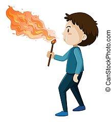 brûler, fond blanc, ventilateur