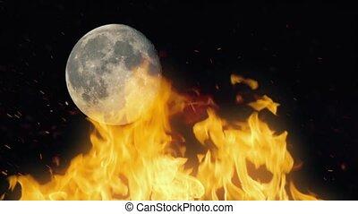 brûler, fond, lune
